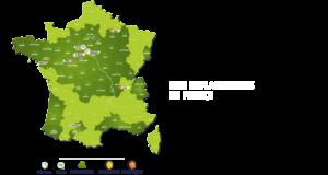 Carte des implantations en France du Groupe Roy Énergie
