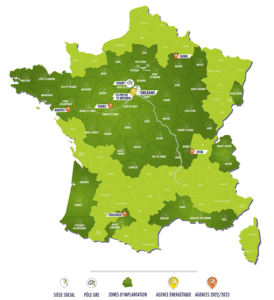 Carte des implantations du Groupe Roy Énergie en France