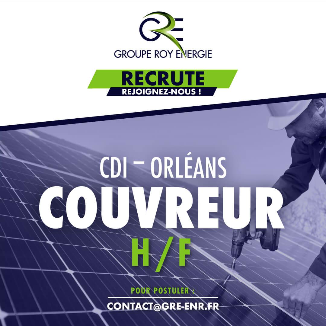 Offre d'emploi Couvreur Installation Photovoltaïque GROUPE ROY ÉNERGIE