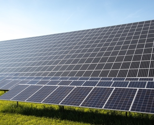 panneaux solaires photovoltaique posés au sol
