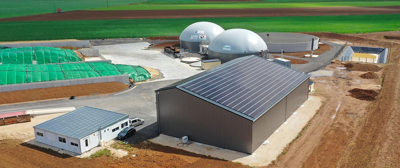 Hangar méthanisation et panneaux photovoltaïques