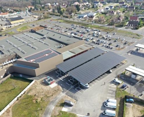 installation ombrières photovoltaïques parking GROUPE ROY ÉNERGIE